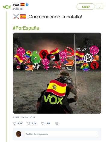 Post publicado por Vox en sus redes sociales.