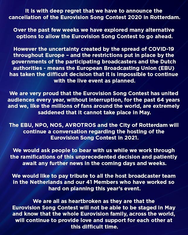 eurovision cancela